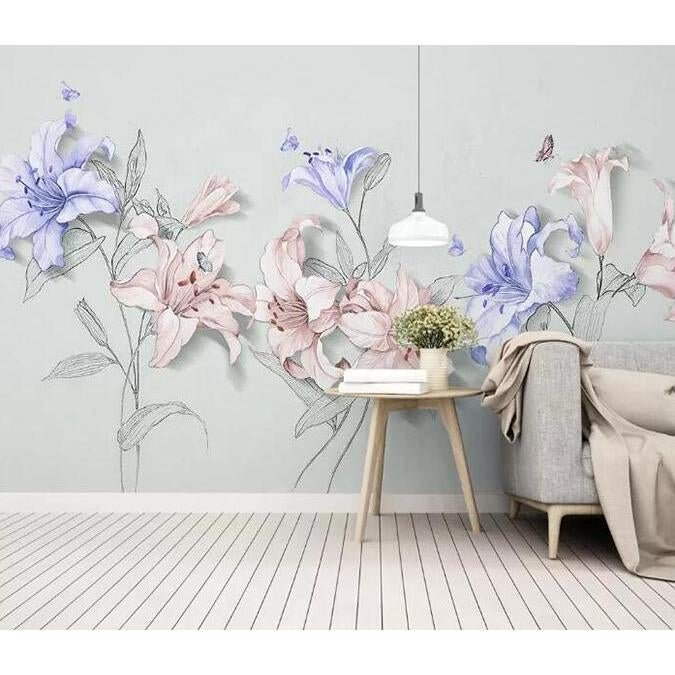 3D Colored Flowers 243 Wall Murals