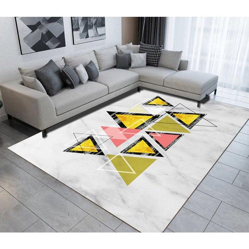 3D Colored Triangle WG498 Non Slip Rug Mat