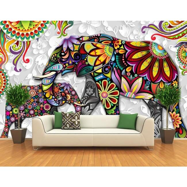 3D Colorful Elephant 45 Wall Murals