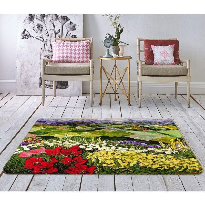 3D Colorful Garden 1011 Allan P. Friedlander Rug Non Slip Rug Mat