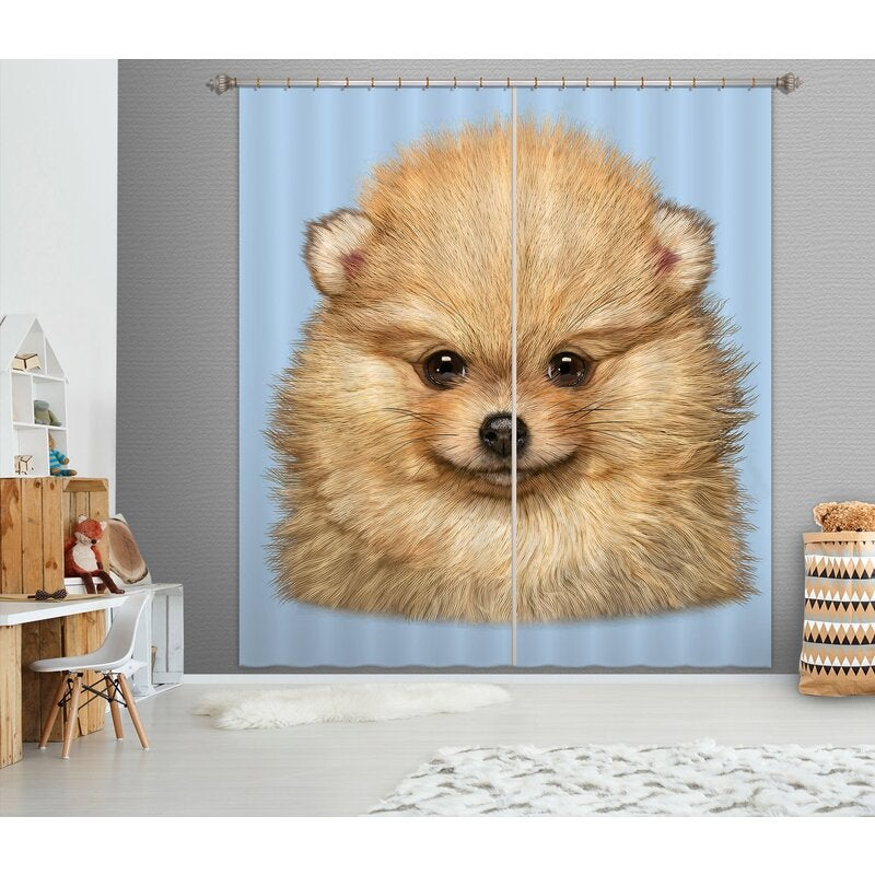 3D Cute Dog 062 Vincent Hie Curtain Curtains Drapes
