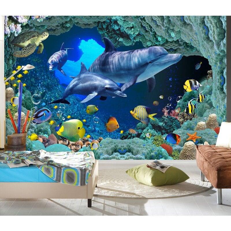 3D Dolphin Swimming 1636 Wall Murals