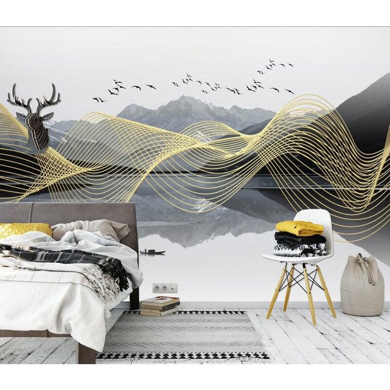 3D Golden Wave 1644 Wall Murals