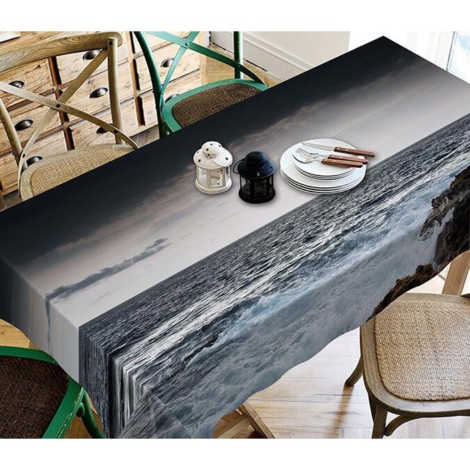 3D Gray Sea 120 Tablecloths