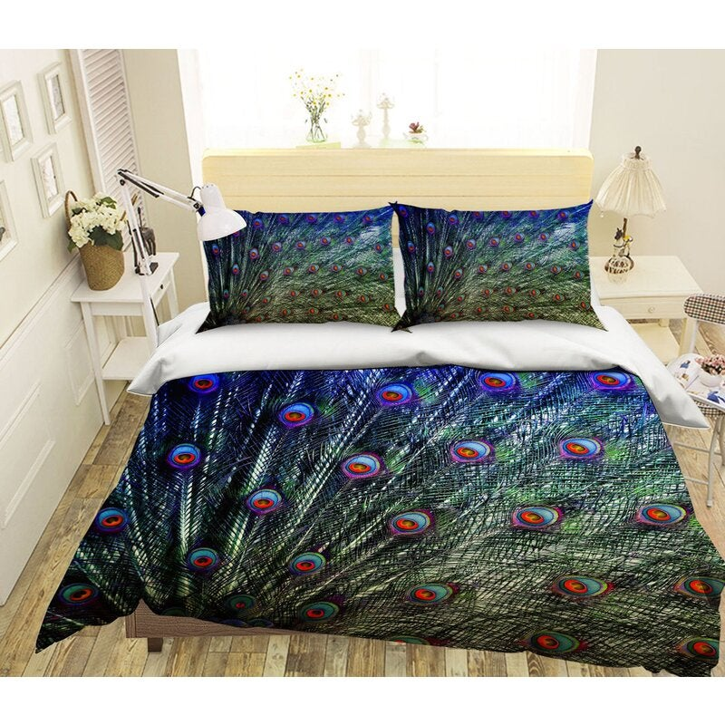 3D Green Feather 1934 Bed Pillowcases Quilt