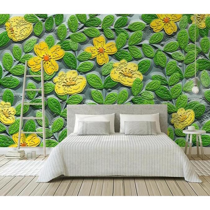 3D Green Leaf Flower 2025 Wall Murals