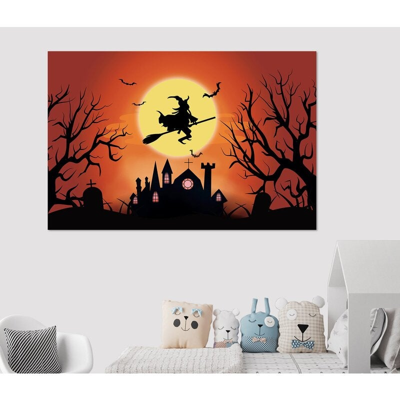 3D Moon Witch Villa 017 Halloween Wall Stickers