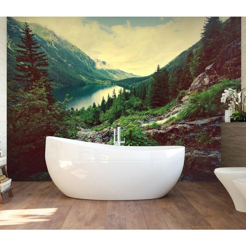 3D Mountain Forest Lake 123 Wall Murals