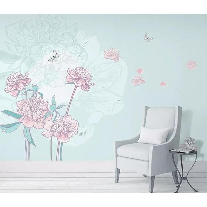 3D Pink Flower Butterfly 092 Wall Murals