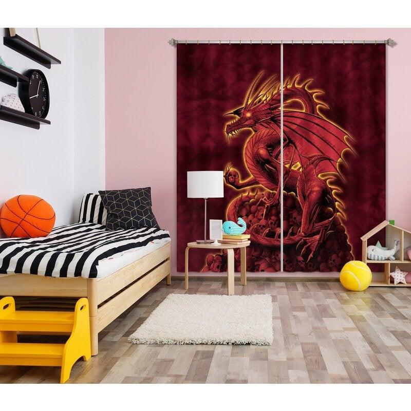 3D Red Dragon 006 Vincent Hie Curtain Curtains Drapes