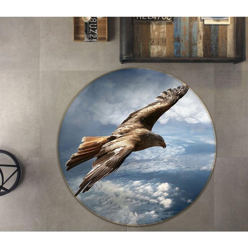 3D Seabird Hovering 011 Animal Round Non Slip Rug Mat