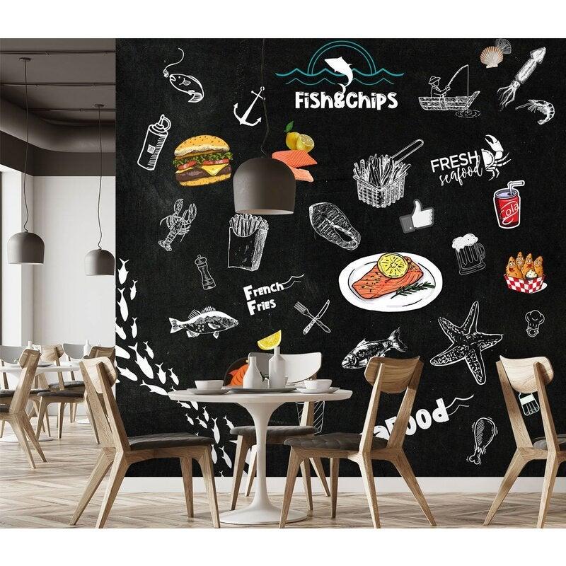 3D stylish blackboard fish chips 01 Wall Murals
