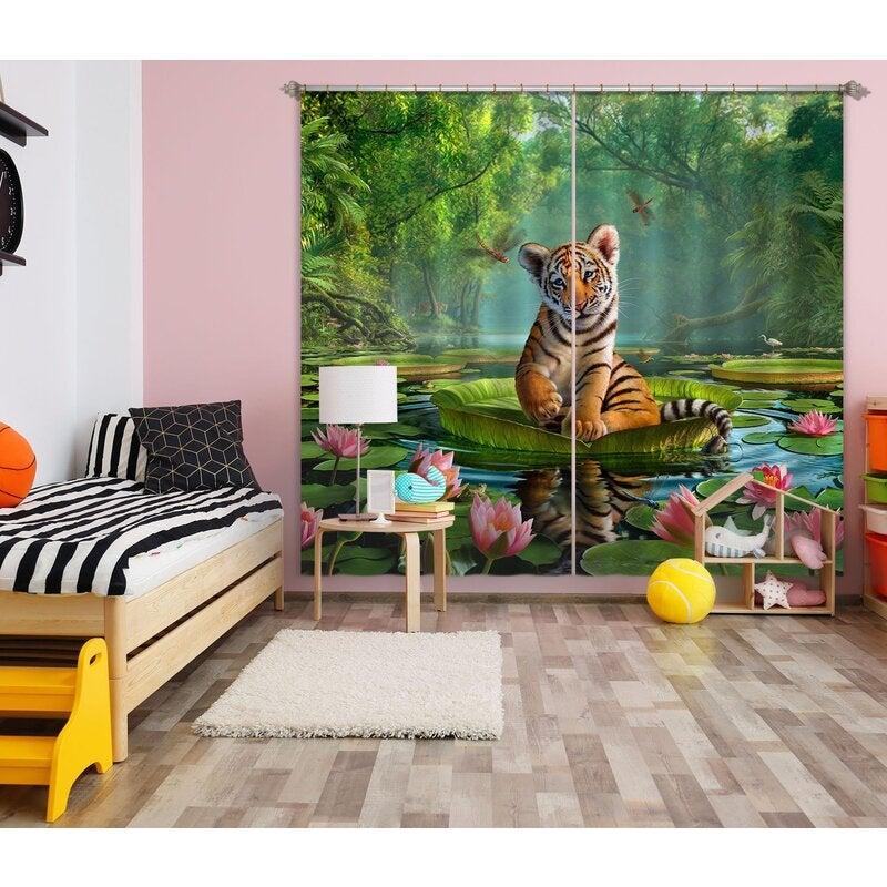 3D Tiger Lily 048 Jerry LoFaro Curtain Curtains Drapes