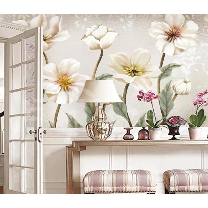3D White Flowers 1897 Wall Murals