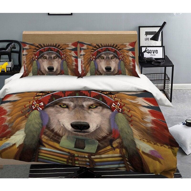 3D Wolf Spirit Chief 103 Bed Pillowcases Quilt Exclusive Designer Vincent