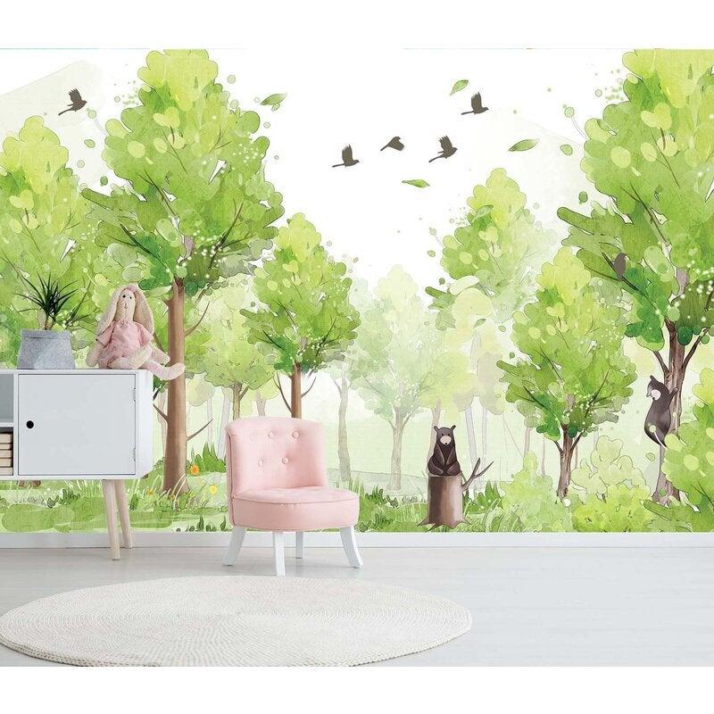 3D Forest Bird Bear 023 Wall Murals