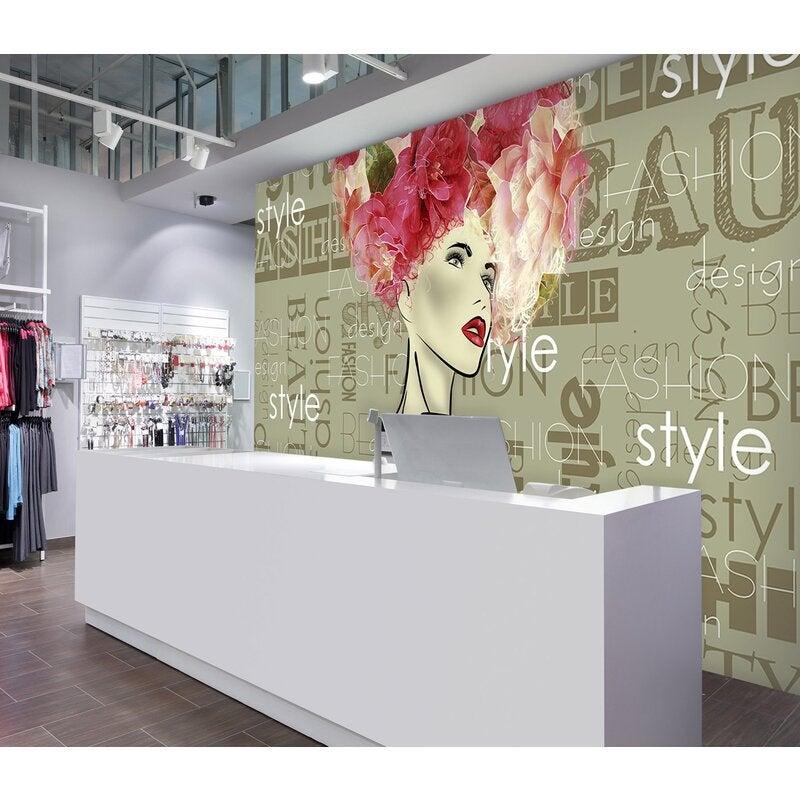 3D Girl Safflower 135 Wall Murals
