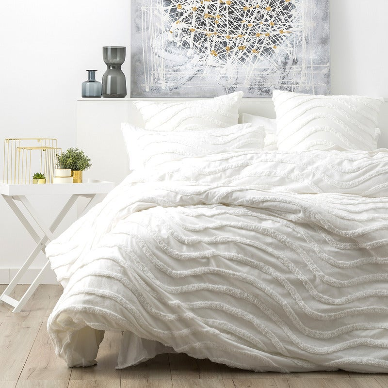 Cloud Linen Wave 100% Cotton Chenille Vintage washed tufted Quilt cover Set White