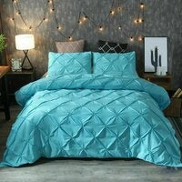 Tailored 1000TC Teal Diamond Pintuck Duvet/Doona/Quilt Cover Set