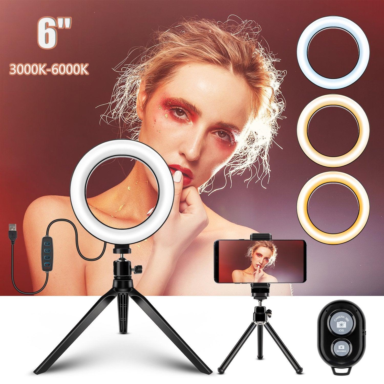 "6"" LED Ring Light Dimmable Lighting Kit Phone Selfie + 2 Tripod Stand Lamp Live"