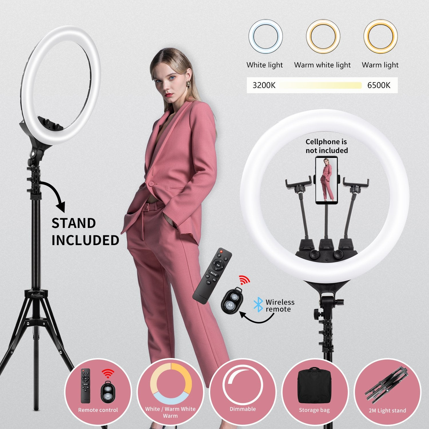 """New 18"""" LED SMD Ring Light Kit with Stand Dimmable 6500K for Makeup Phone Camera"""