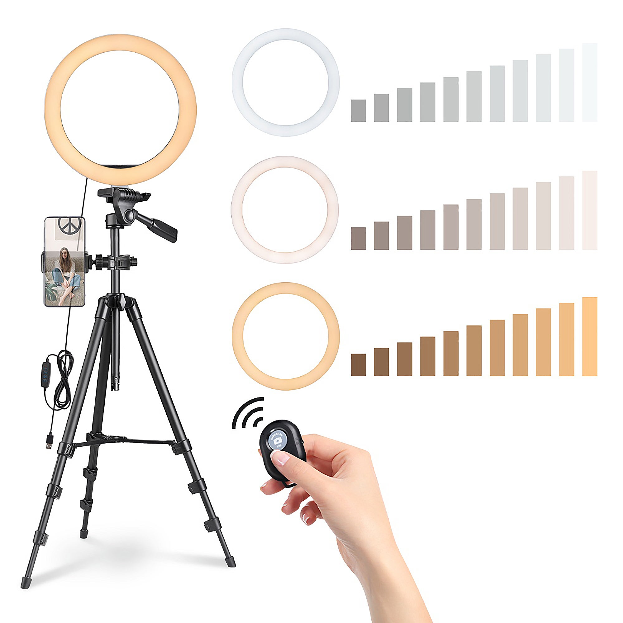 """Yescom 10"""" Dimmable Selfie LED Ring Light with Tripod Stand Phone Holder for Makeup Live"""