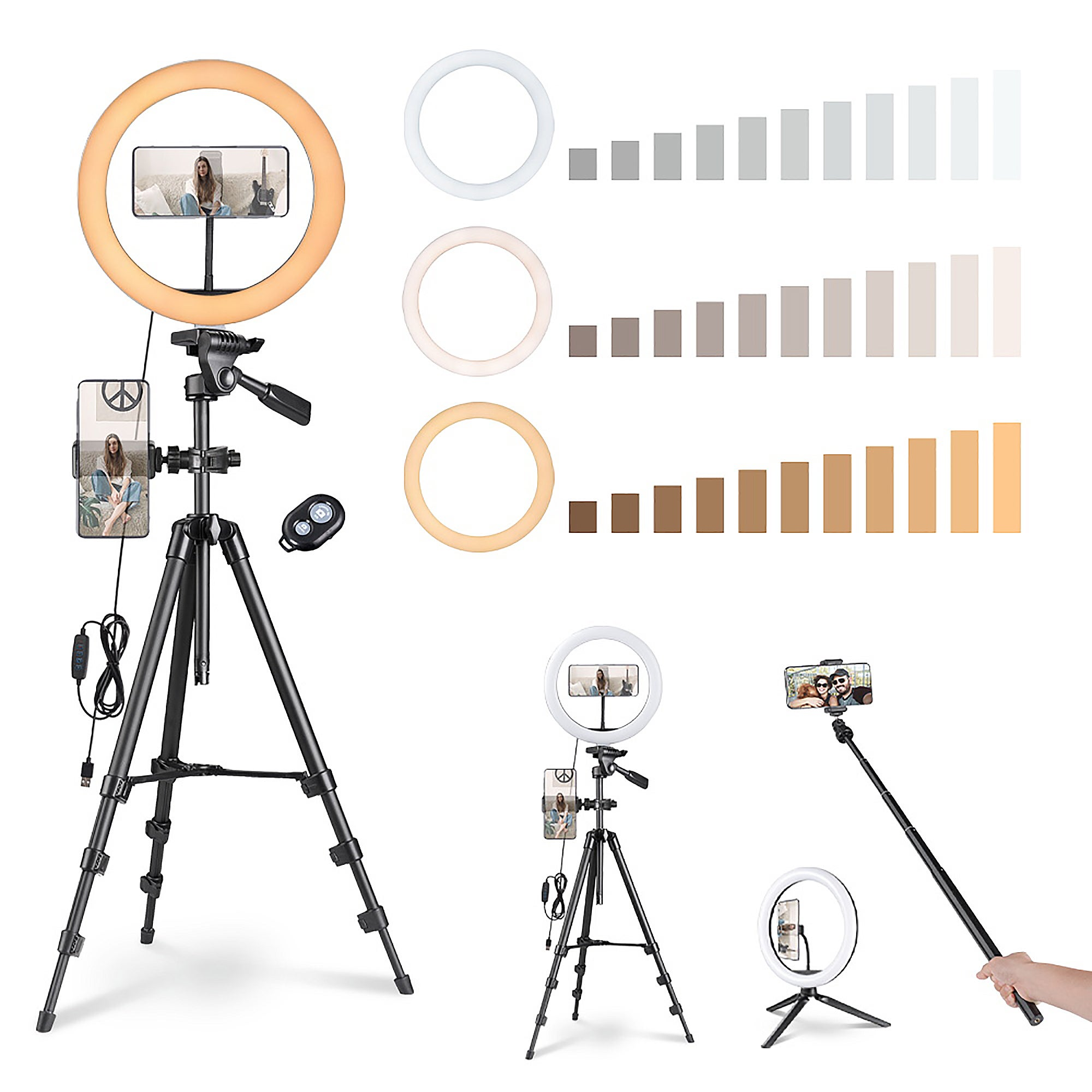 """Yescom 12"""" Dimmable Selfie LED Ring Light with Tripod Stand Phone Holder for Makeup Livestream"""