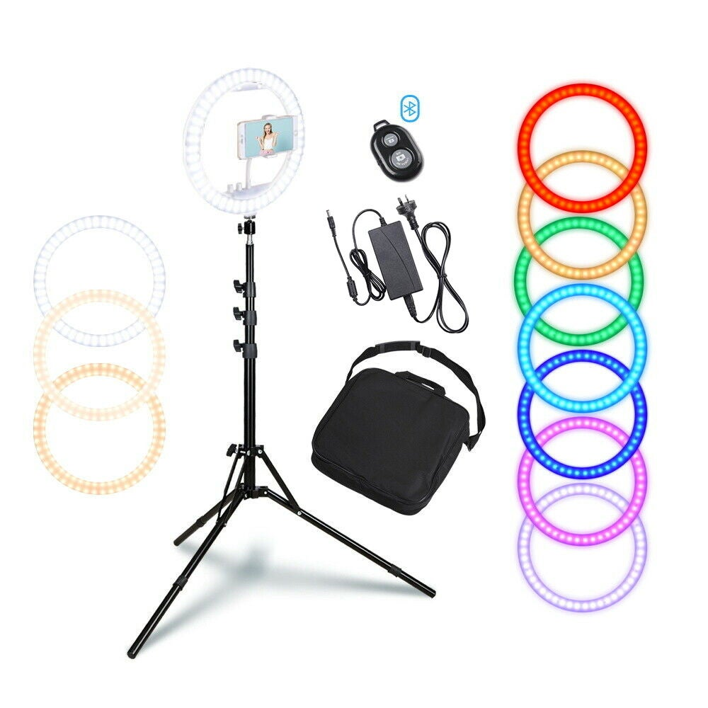 """Yescom 13"""" Dimmable LED Ring Light RGB with Tripod Stand Phone Holder Remote for Selfie Makeup Video 6500K"""