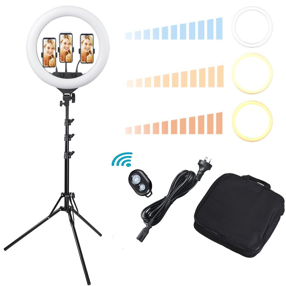 """Yescom 17"""" LED Ring Light Dimmable with Tripod Stand 3 Phone Holder 3200K-6500K for Selfie Makeup Live Stream Video"""