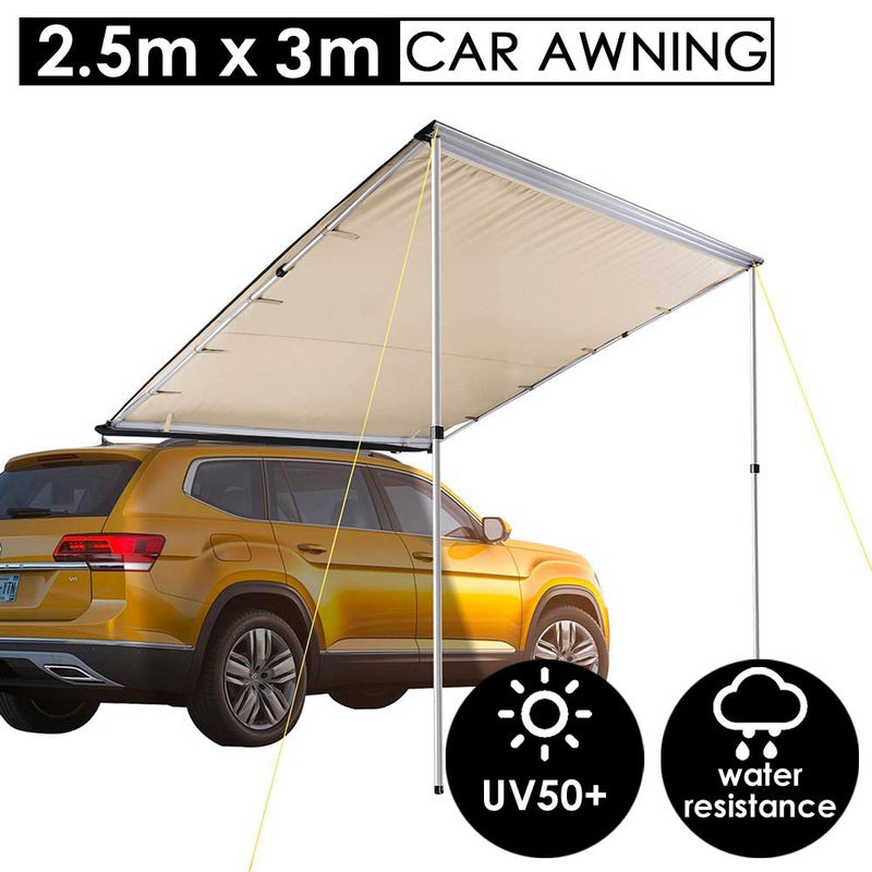 Yescom 2.5x3m UV50+ Car Side Awning Extension Roof Cover Top Pullout Tent Sun Shade Rack Shelter Camping Trailer Sand