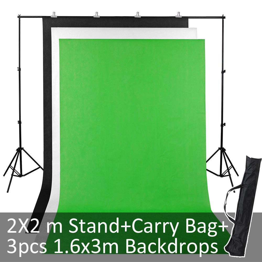 Yescom 2x2m Photography Screen Background Stand Support Kit Adjustable 3 Backdrops Bag