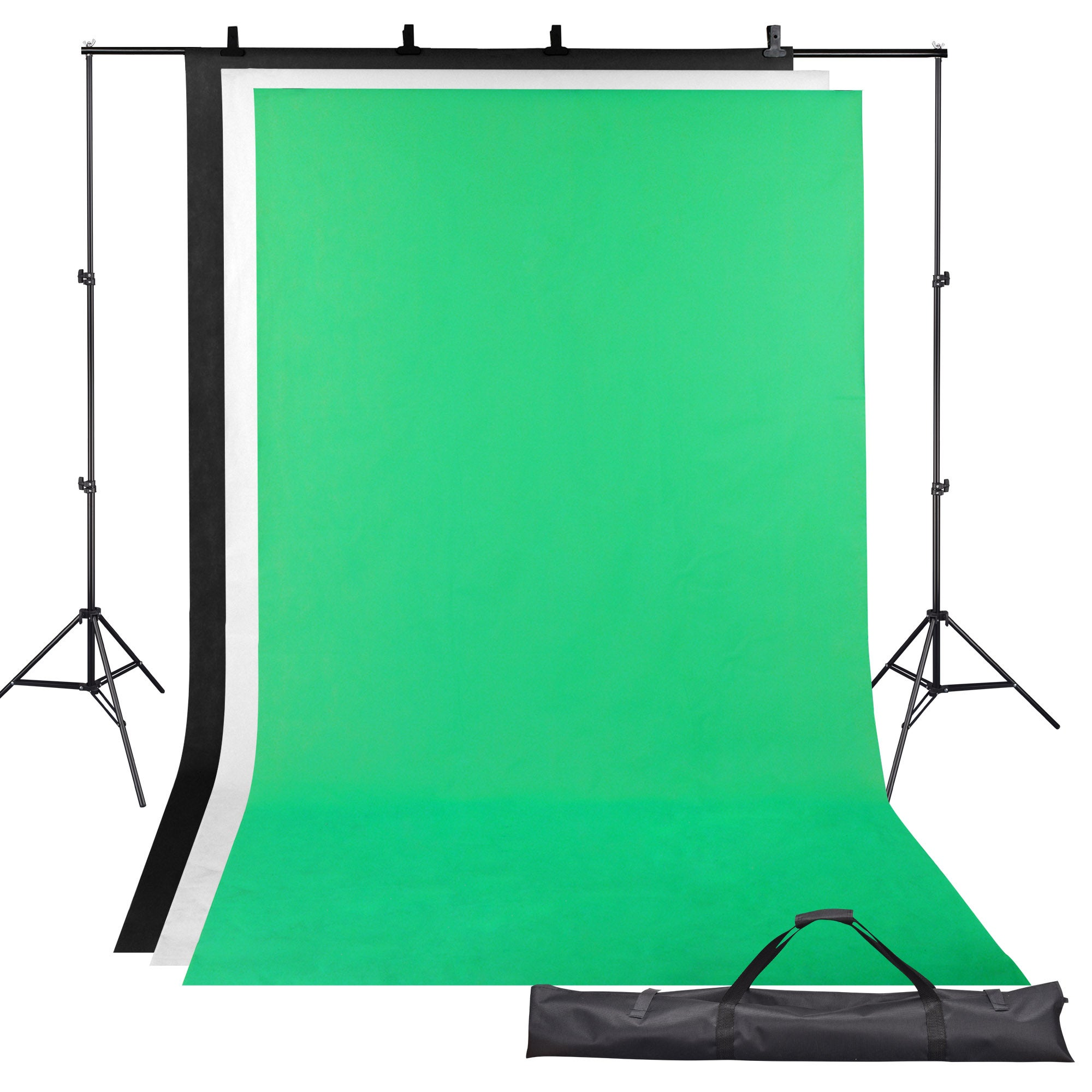 Yescom 2x3m Photography Backdrop Stand Kit Adjustable Background Support Video 1.6x3m Backdrops Green Black White