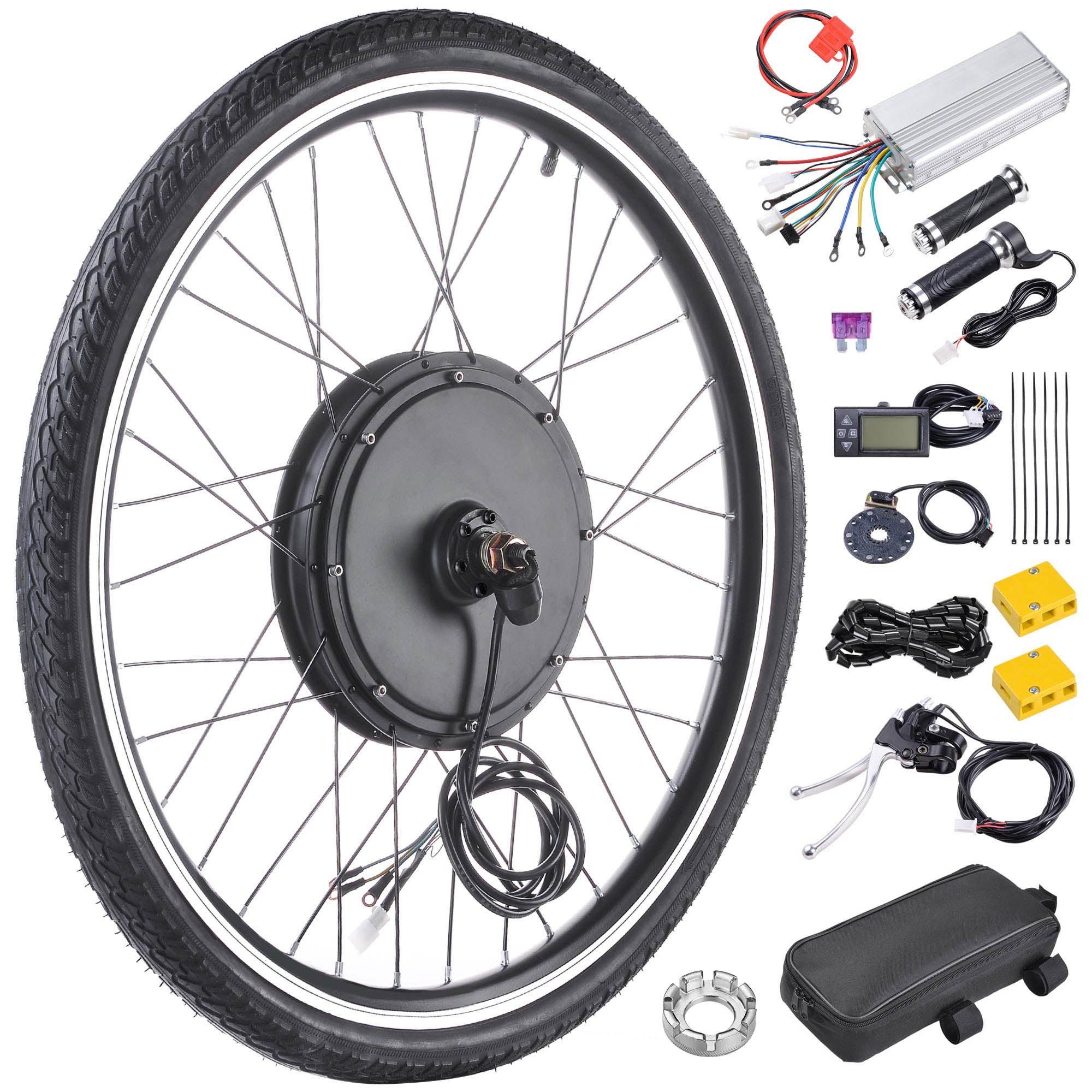"Yescom 36V 750W Motor 26"" Front Wheel Electric Bicycle Kit E-Bike PAS Hub LCD Display"