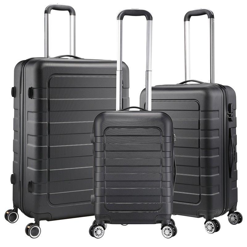 """Yescom 3pcs Black Travel Luggage Set 20"""" 24"""" 28"""" Trolleys Wheel Suitcase Bag Hard Shell"""