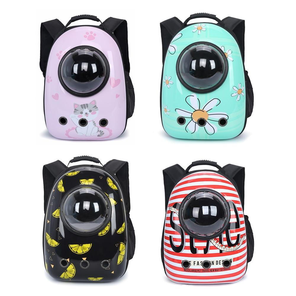 Cartoon Cat Backpack Breathable Transparent Puppy Cat Carrier Bag Cats Box Cage Small Dog Pet Travel Handbag Space Capsule