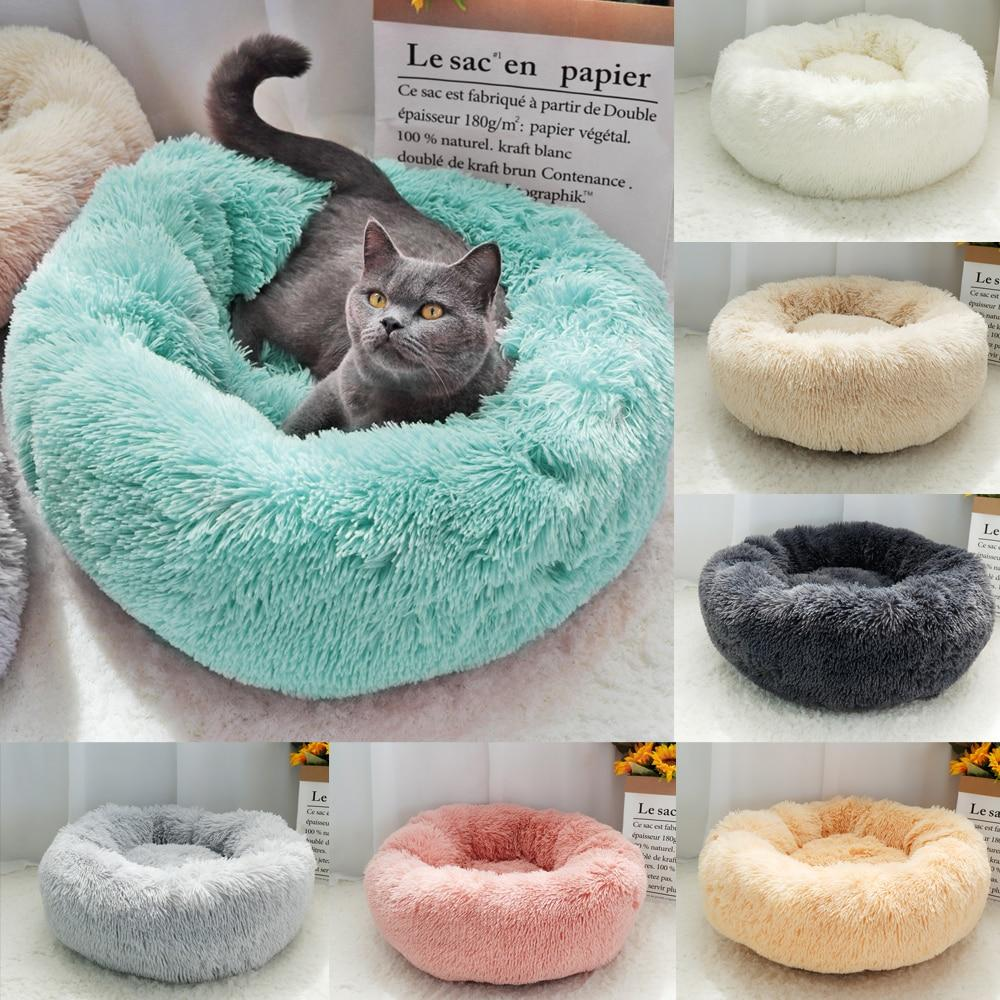 Round Cat Dog Bed Soft Plush Long Plush Best Pet Dog Bed For Dogs Products Nest Winter Warm Sleeping Cat Pet Bed Mat Cat House