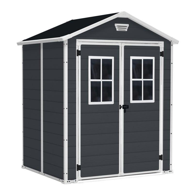 KETER Manor 6x5 Outdoor Storage/Garden Shed (Dark Grey/White)