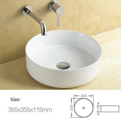 Flat round ceramic above counter basin Glossy white