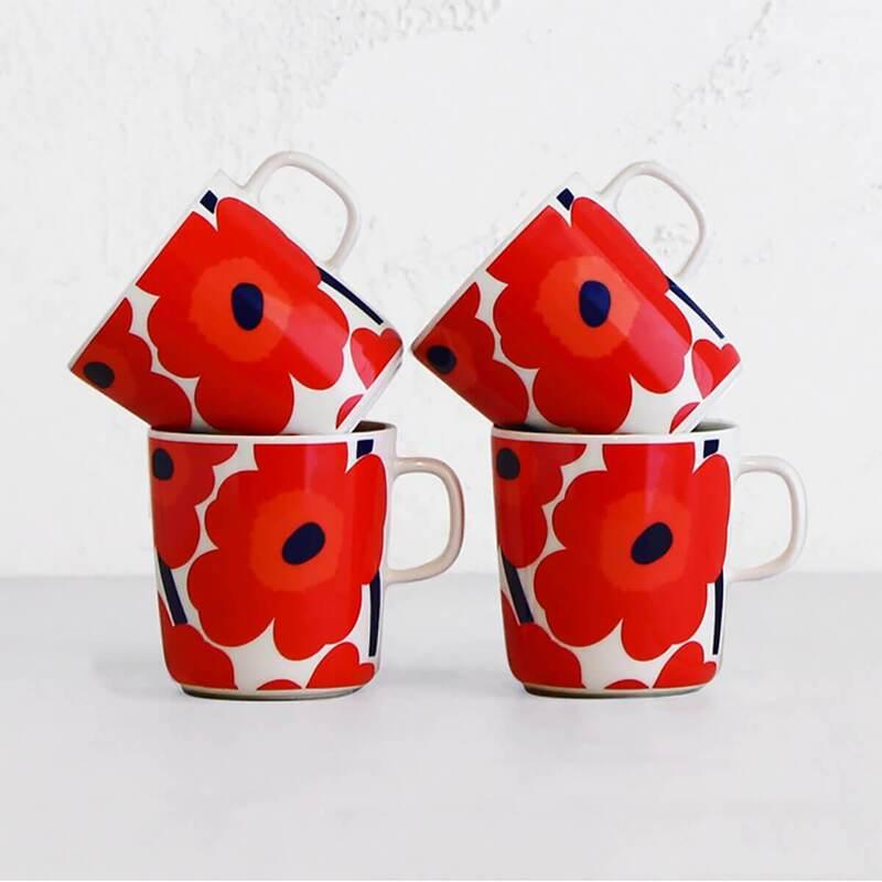 MARIMEKKO - UNIKKO COFFEE MUG 4DL - RED + WHITE - SET OF 4