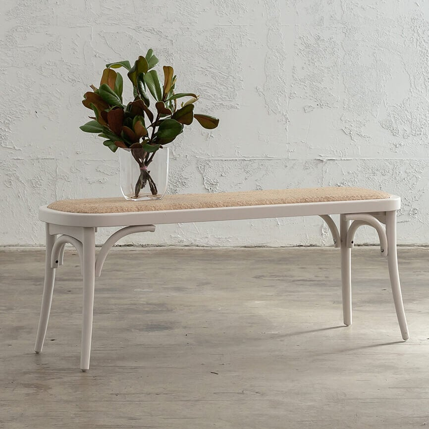 NEWFIELD BENCH SEAT - WHITE + NATURAL RATTAN SEAT