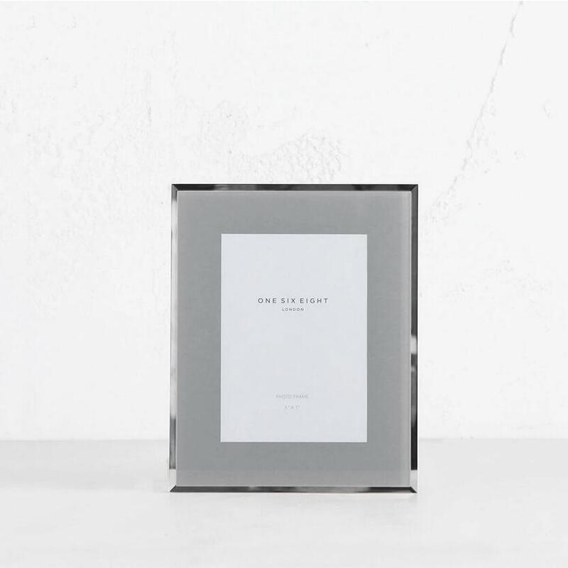 ONE SIX EIGHT LONDON - GLASS PHOTO FRAME - GREY + SILVER EDGE - 5 x 7 IN.