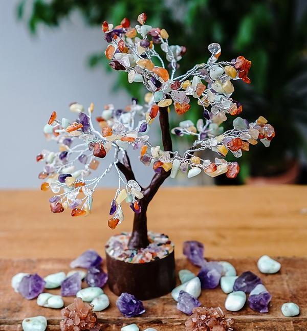 Mixed Crystal Gemstone Tree - LARGE - Brown Base - Crystal Healing