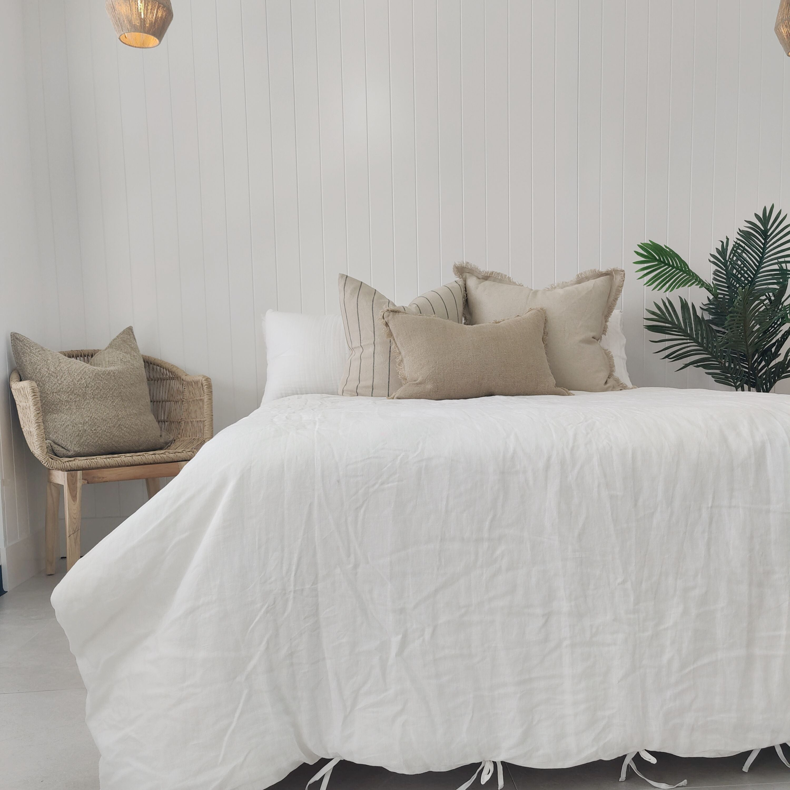 Heavy Weight 100% French Flax Linen Quilt Cover Set - White