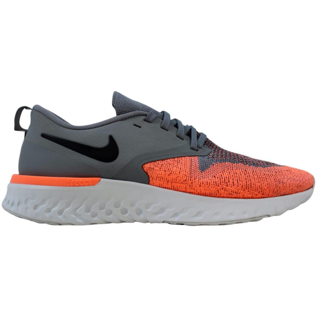 Nike Odyssey React 2 Flyknit Cool Grey/Black-Bright Mango AH1016-004 Women's