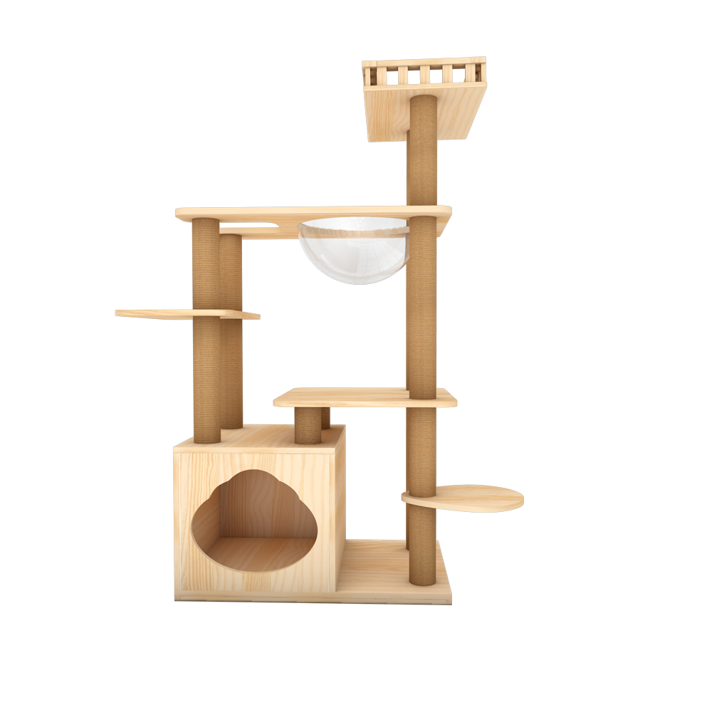 Wooden Cat Tree Cat Scratching Post Modern Cat Condo Furniture with Natural Sisal Rope