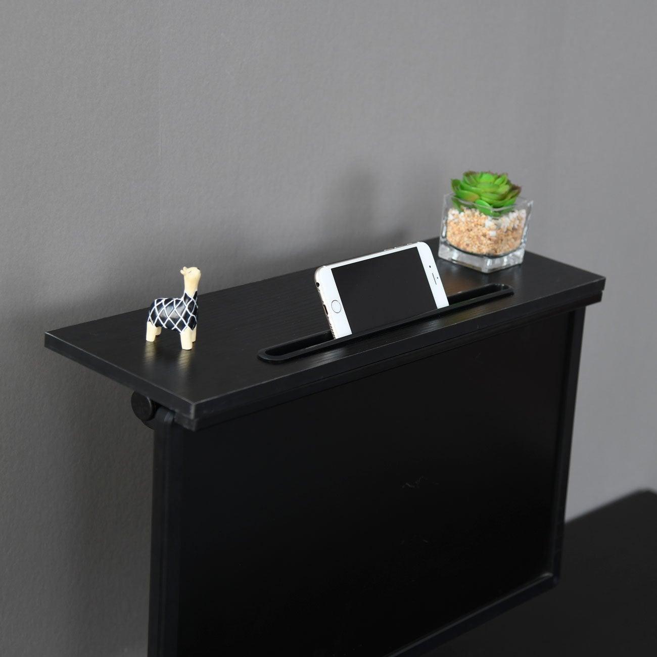 ZASS Mountable Monitor/TV/Screen Top Shelf Monitor Mount Organiser - Black Willow