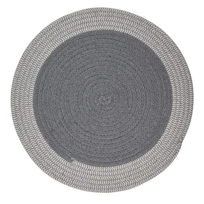 Round Woven Cotton Placemat Grey / White 37cm