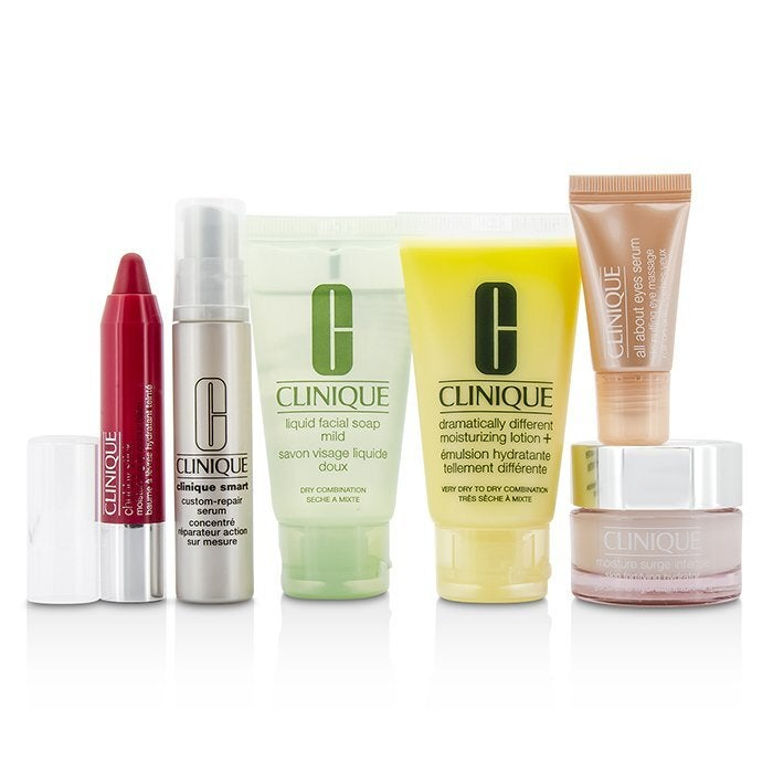 CLINIQUE - Travel Set: Facial Soap 30ml + DDML+ 30ml + Moisture Surge Intense 15ml + Smart Serum 10ml +Eye Serum 5ml + Chubby Stick #05