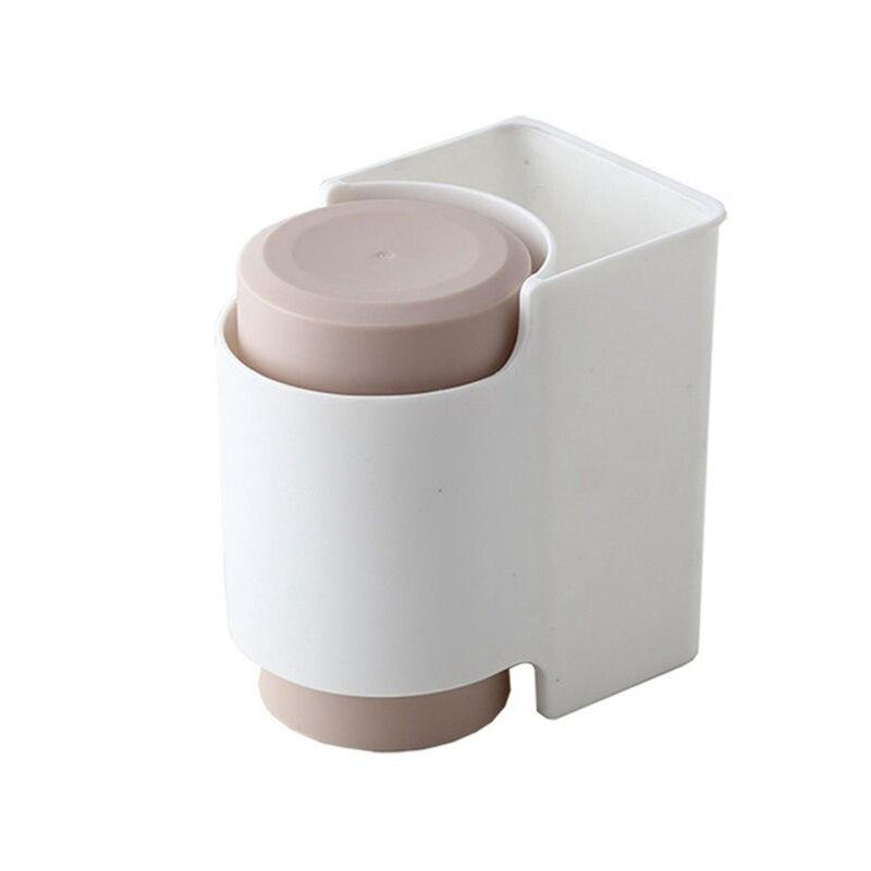 Toothbrush Holder Toothpaste Storage Rack Mouthwash Cup Strong Adsorption Hanging Storage Rack Double Wash Cup Set Bathroom