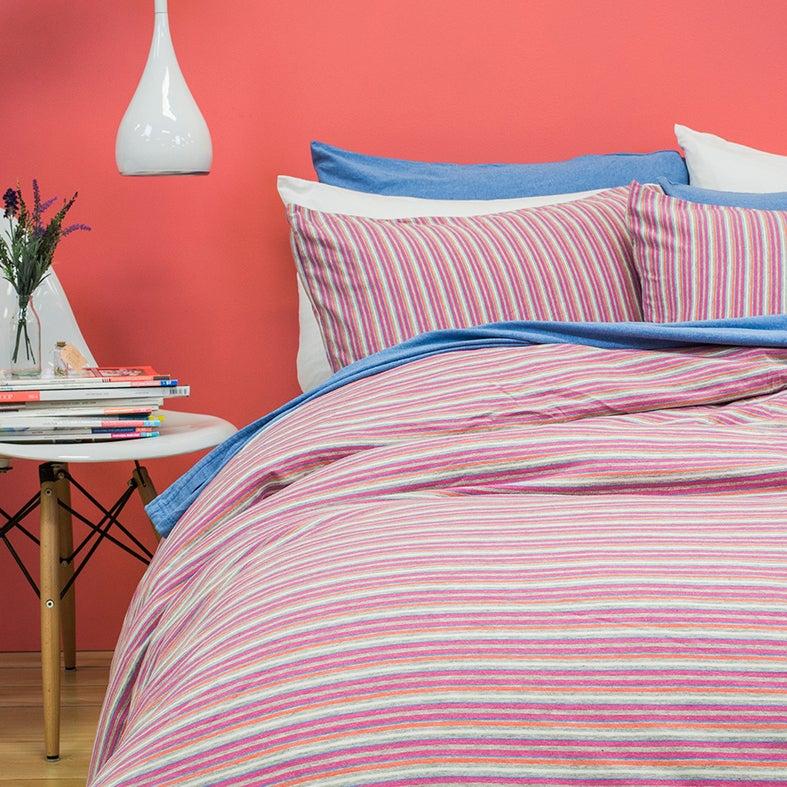 BedT Cotton Jersey Quilt Cover Set - Dahlia Stripe
